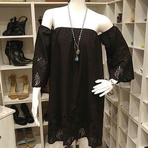 NWT KORI BLACK EYELIT TRIM OFF SHOULDER DRESS S